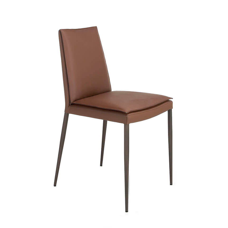 Chair upholstered in leatherette with brown steel legs