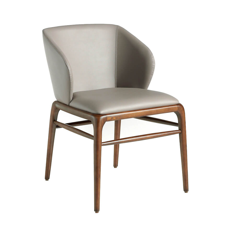 Chair upholstered in leatherette and structure in wood...