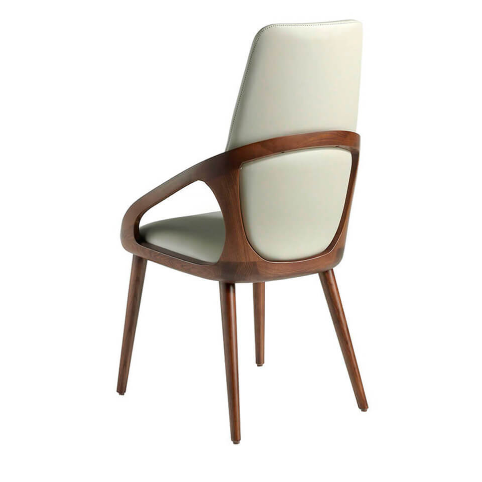 Chair upholstered in leatherette and structure in walnut painted wood