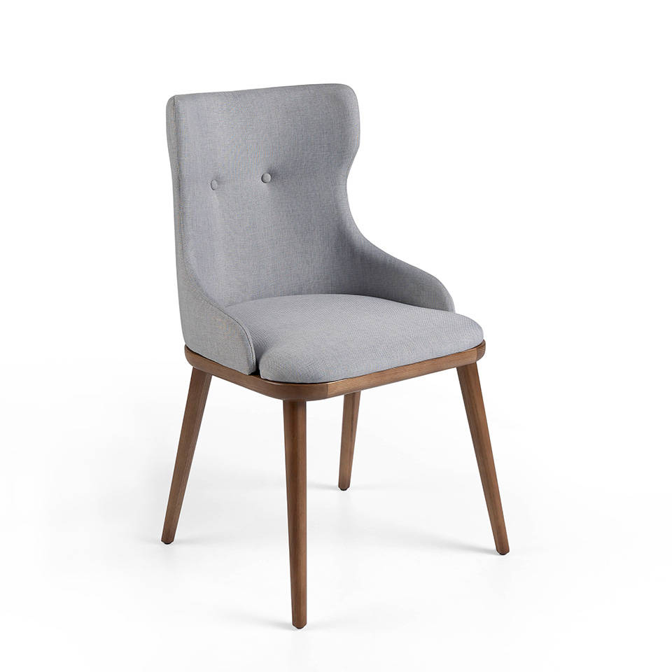 Solid ash wood chair with seat upholstered in fabric