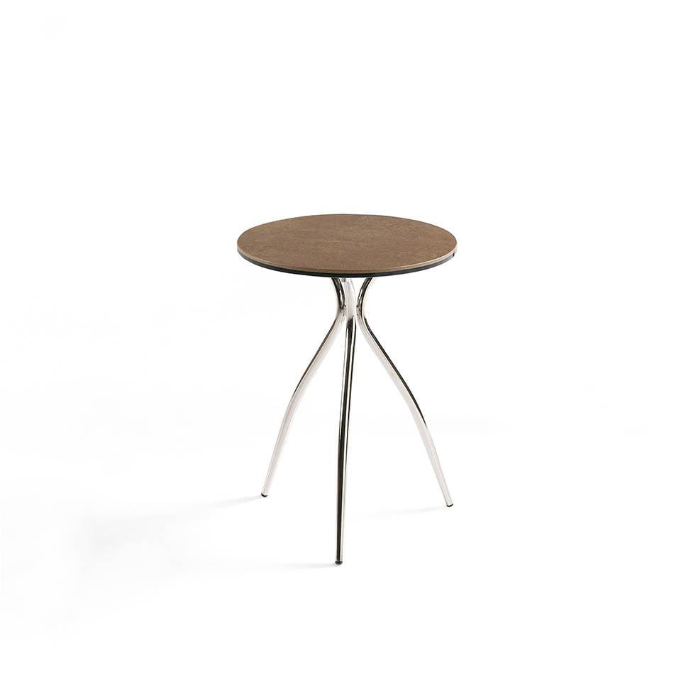 Mesa de rincón con tapa de corten porcelánico y base de acero inoxidable