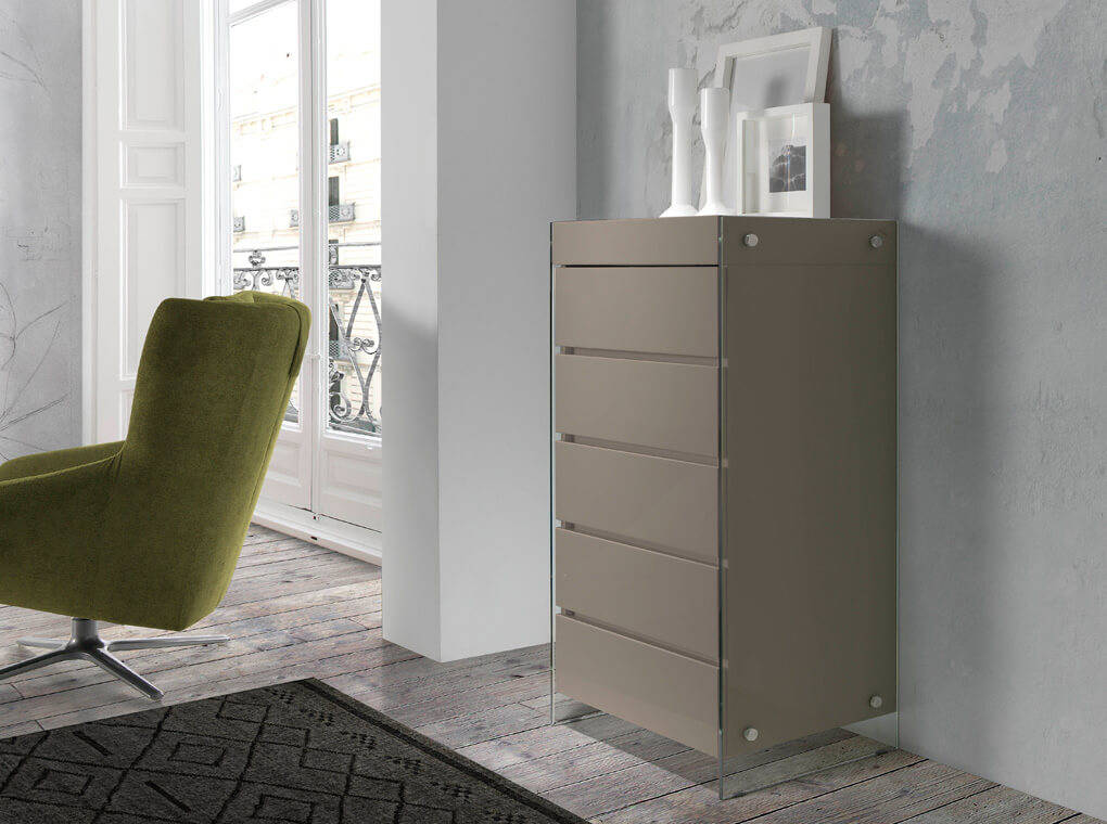 kommode mdf lackiert mit seitenteilen aus geh rtetem glas designerm bel angel cerd. Black Bedroom Furniture Sets. Home Design Ideas