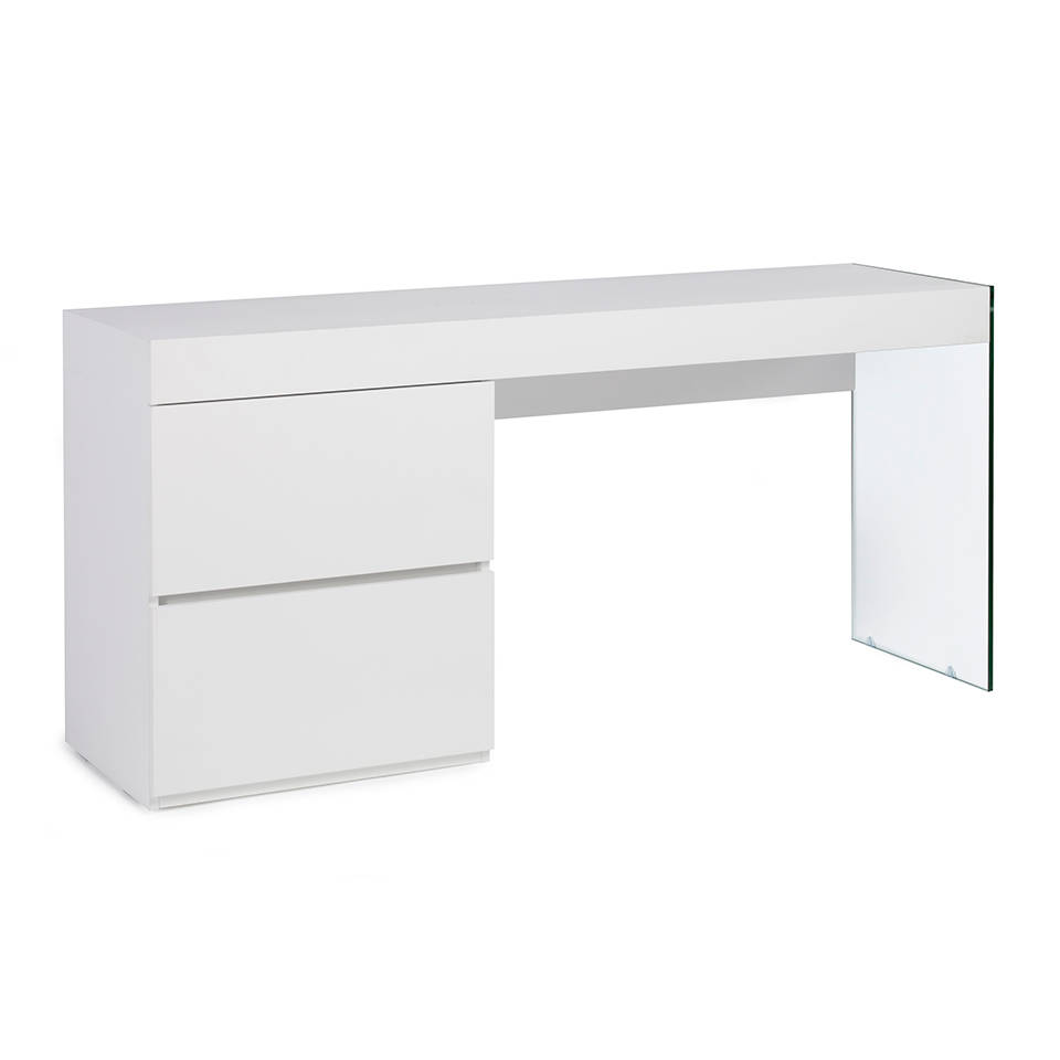 White wooden desk and tempered glass
