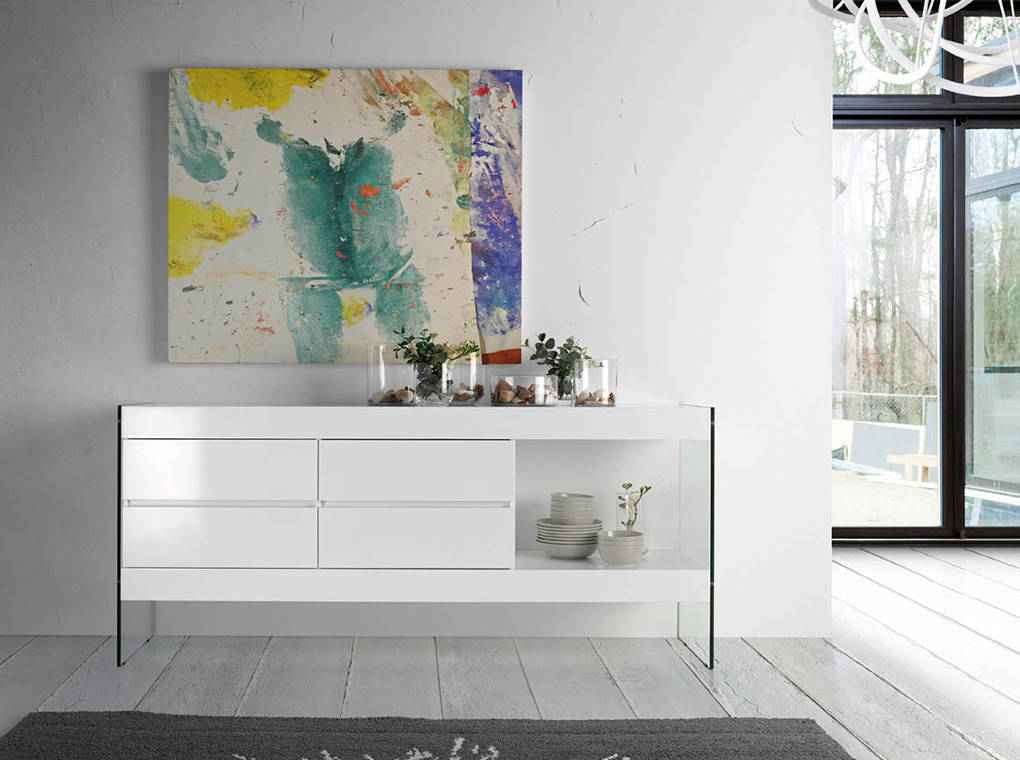 White wooden sideboard and tempered glass