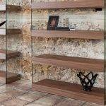 Walnut colored wooden shelf and tempered glass