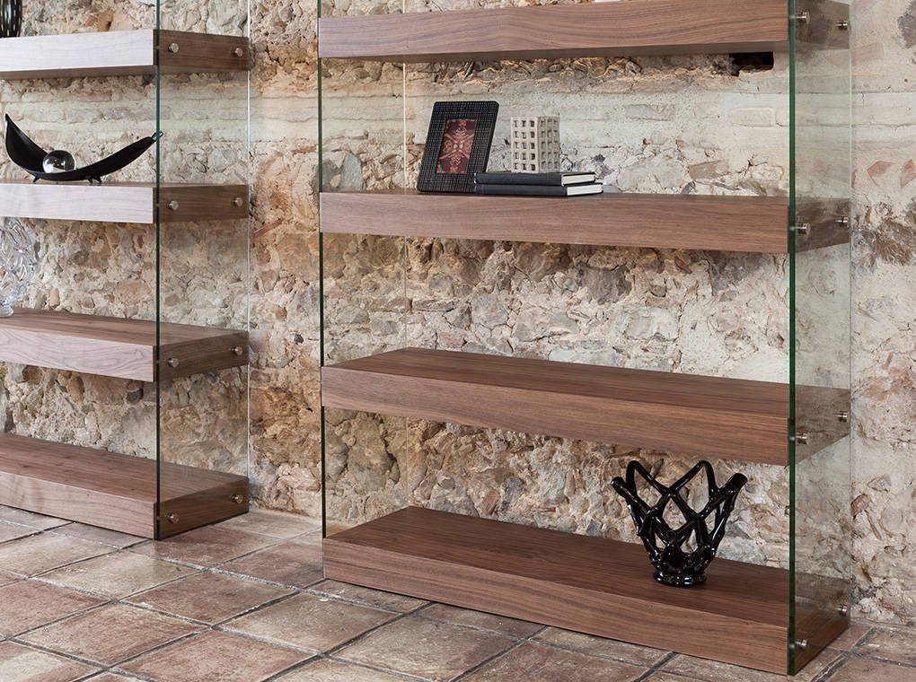 Bookshelves in walnut veneered wood and tempered glass sides