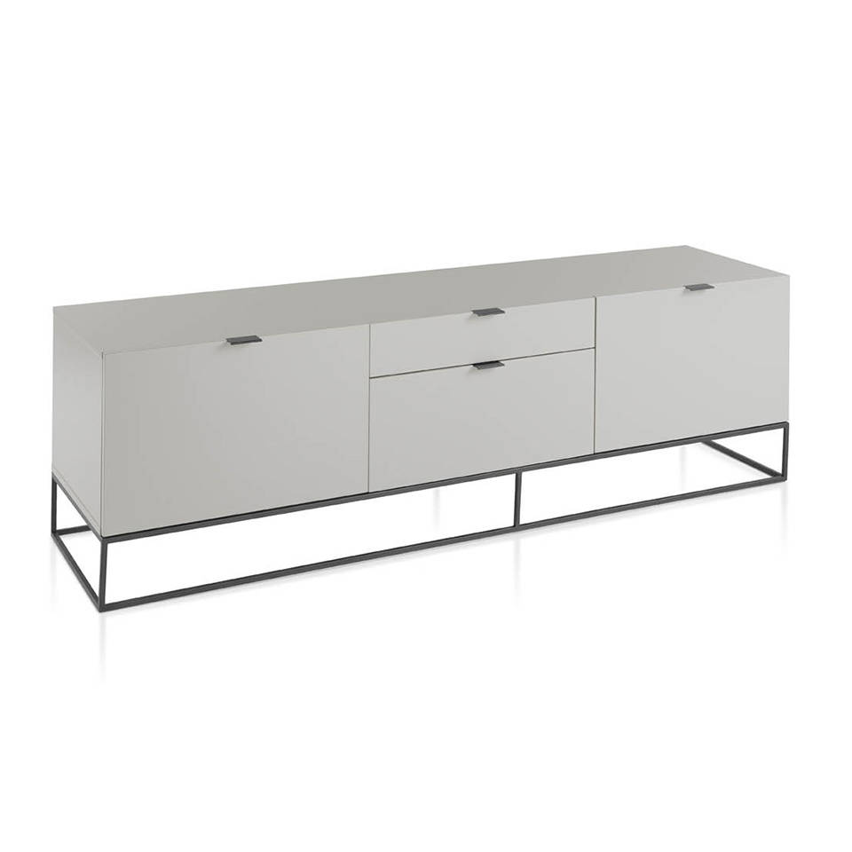 Pearl Gray wooden TV cabinet and black steel