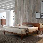 Walnut-veneered wooden bed