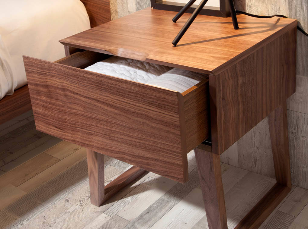 Walnut wood nightstand