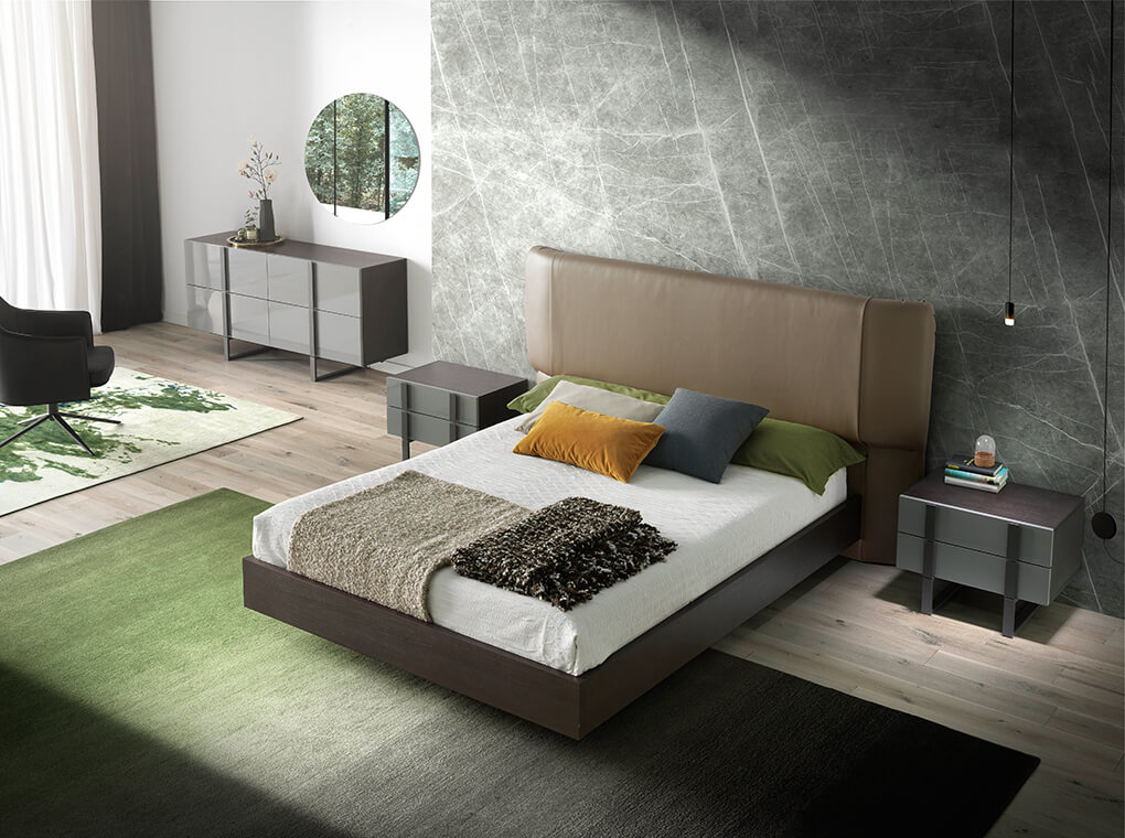 Bed with wood structure and upholstered headboard
