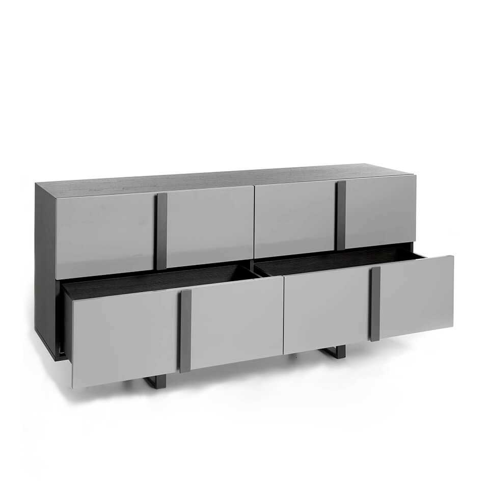 Four lacquered MDF drawers Sideboard  with dark gray steel structure