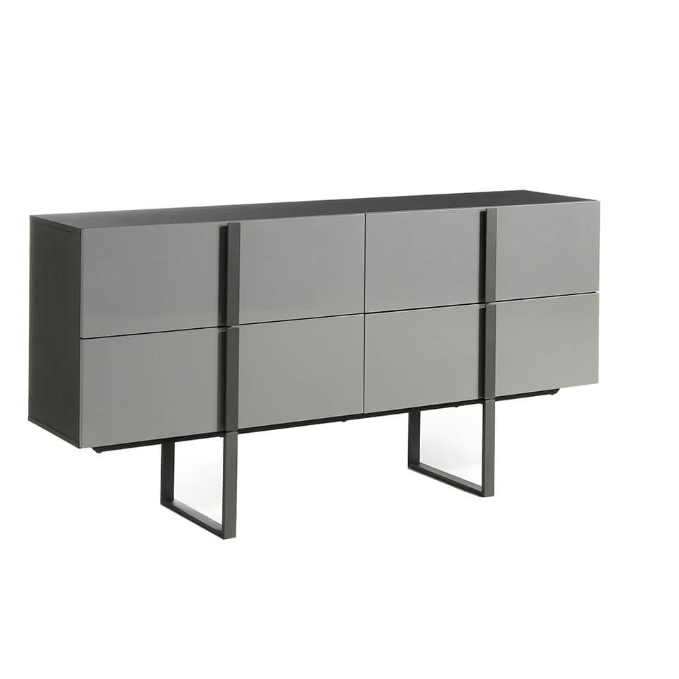 Sideboard with structure in oak veneer painted in wengué and black steel legs