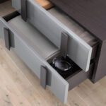 Lacquered bedside table with dark grey steel structure