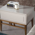 Bedside table with walnut-veneered wooden legs