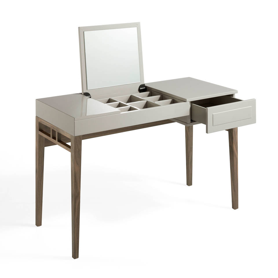 Dressing table in lacquered Mdf and walnut veneered structure