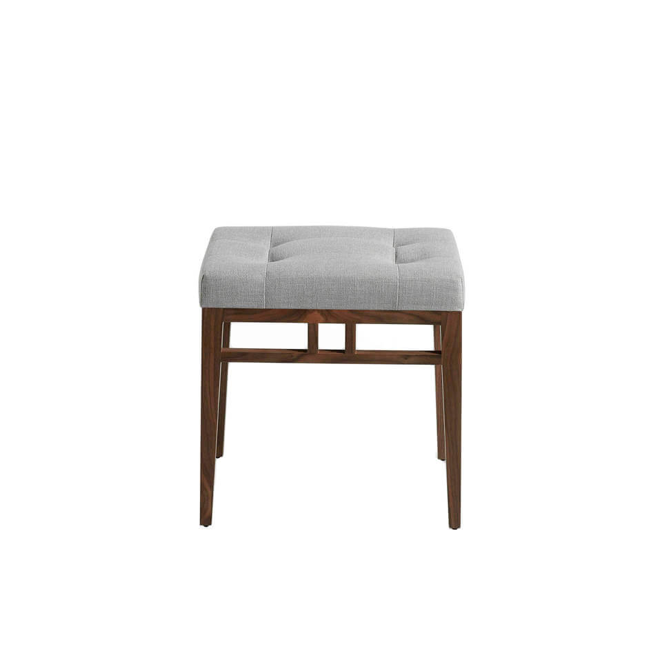 Footstool with wooden structure with walnut plating