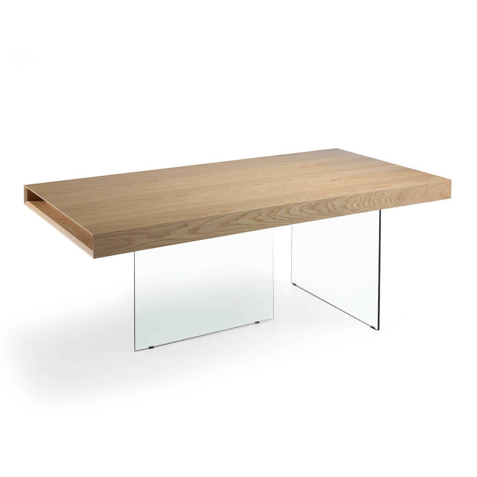 Dining table with glass structure and oak glass