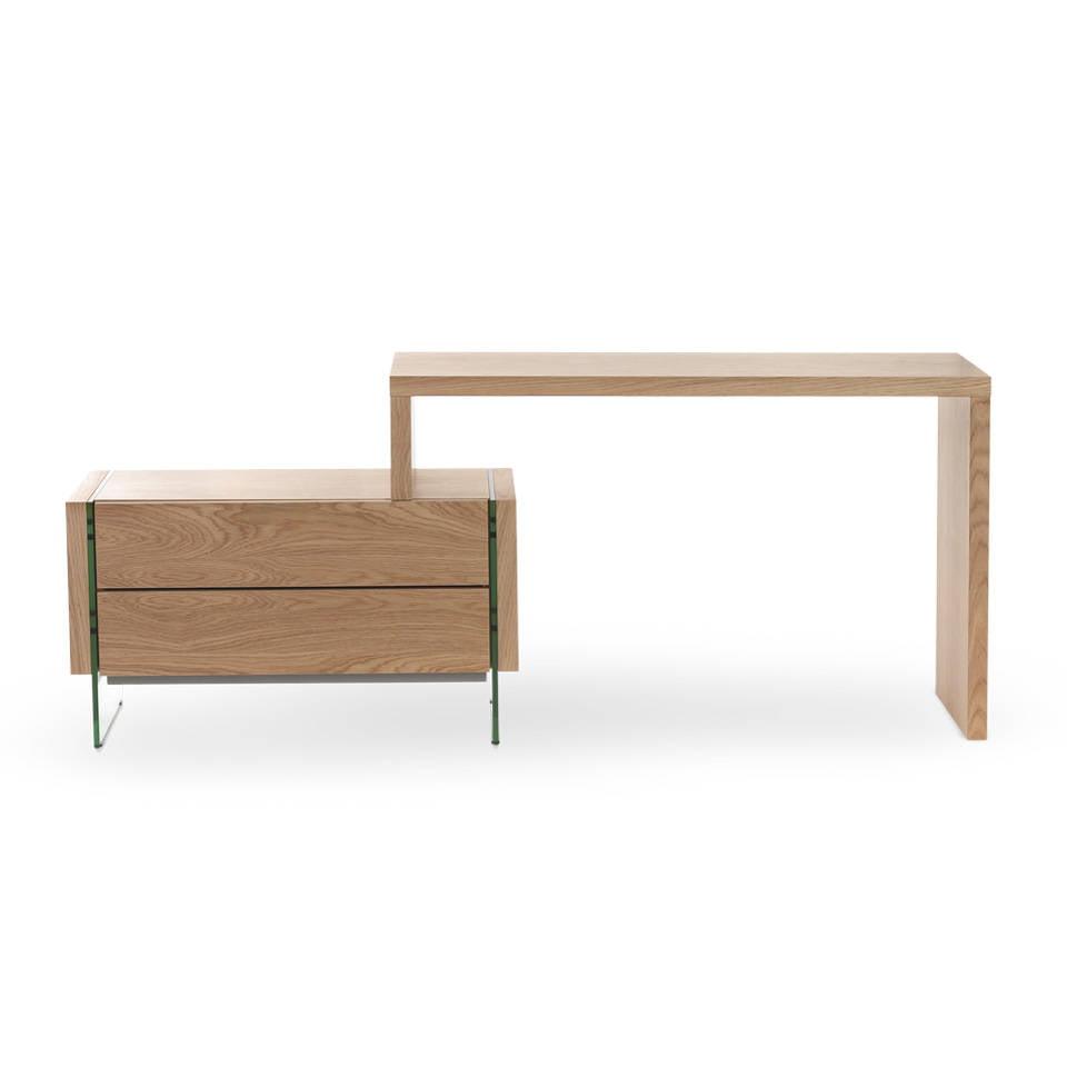 Bureau En Verre Et Bois - Bureau en bois plaqué en ch u00eane et c u00f4tés en verre Angel Cerdá, S L