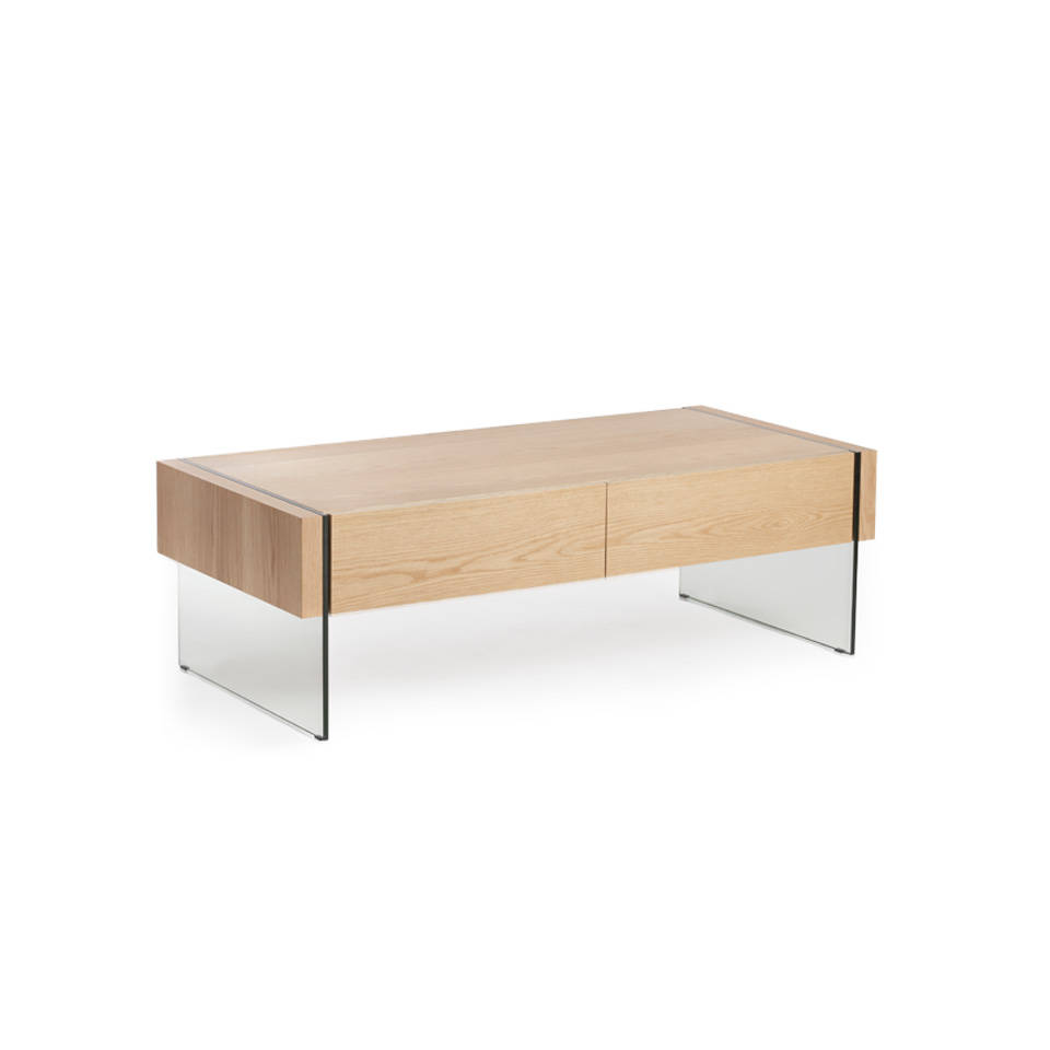 Mesa de centro de madera chapada en roble y laterales de cristal templado