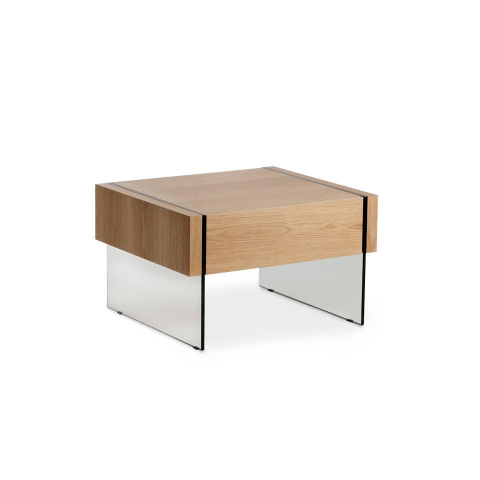 Mesa de rincón de madera chapada en roble y laterales de cristal templado