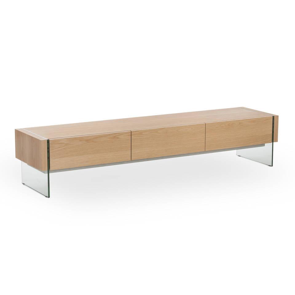 Mueble TV de madera chapada en roble y con laterales de cristal templado