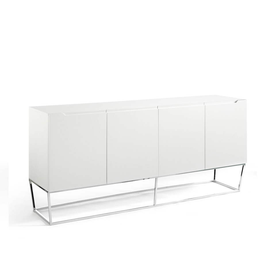 4  doors sideboard made of lacquered MDF with stainless steel chromed structure