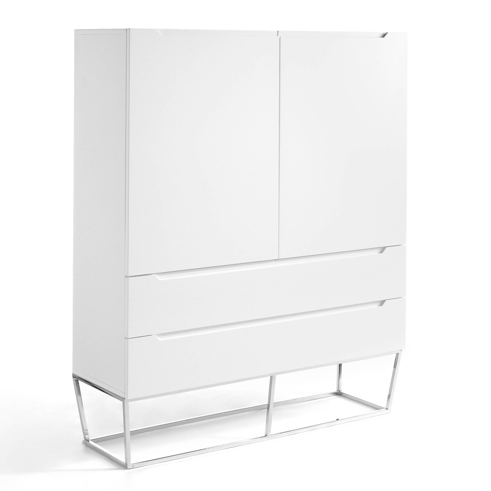Cupboard with 2 doors and 2 drawers made of lacquered MDF with stainless steel chromed legs