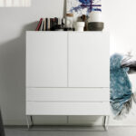 White wooden cupboard and chrome steel