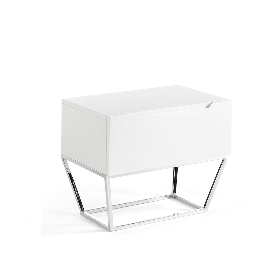 White wooden bedside table and chrome steel