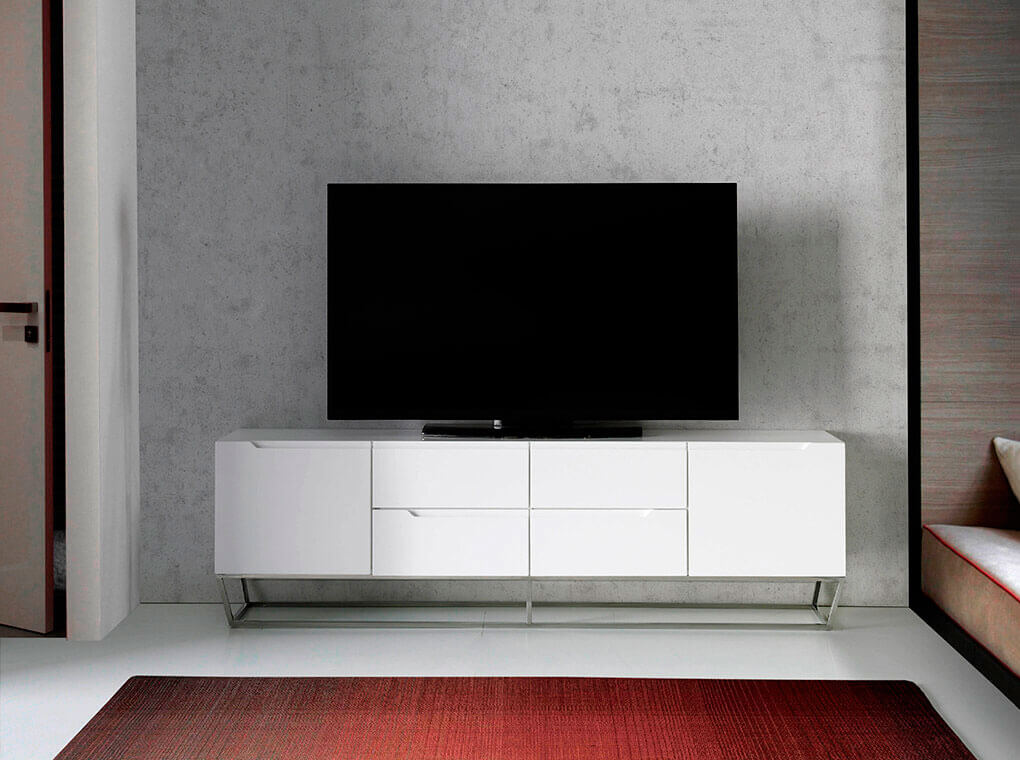TV Unit made of lacquered MDF with stainless steel chromed structure