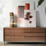 Walnut veneered wood sideboard with tempered glass side