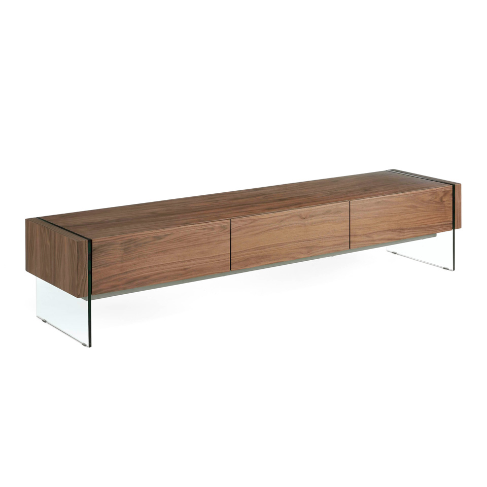 Walnut wood TV cabinet and tempered glass