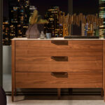 3-drawer sideboard made of walnut-veneered wood with imitation marble glass top