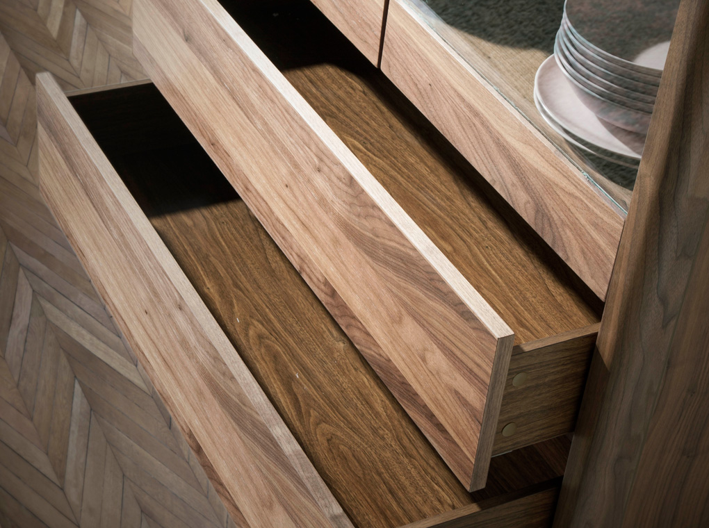 Walnut wood display cabinet and marble-effect glass top