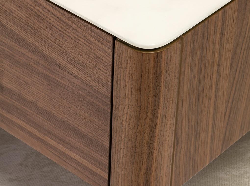 Coffee table made of walnut-veneered wood with imitation marble glass top
