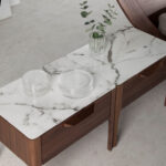 Fiberglass bedside table with Calacatta marble effect and Walnut wood