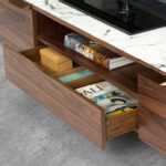 Walnut wood TV cabinet and marble-effect glass top