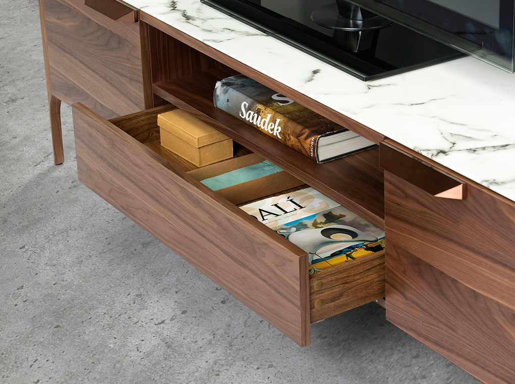 TV stand made of walnut veneered wood with imitation marble glass top