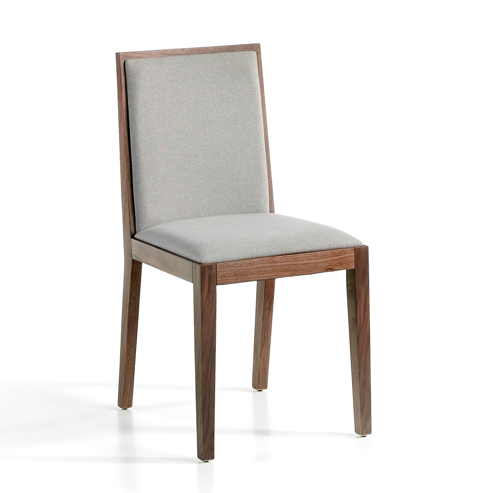 Chair upholstered in fabric with Walnut colored wooden structure