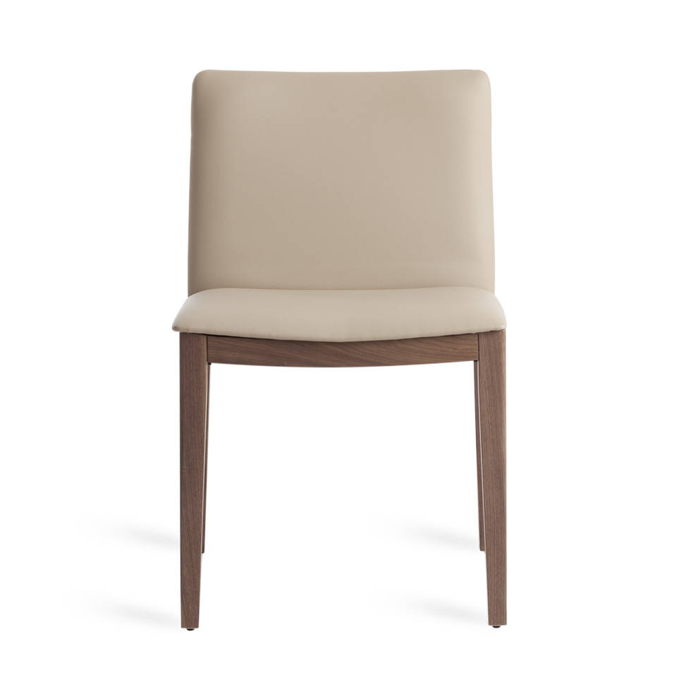 Chair upholstered in faux leather and wooden structure with walnut plating