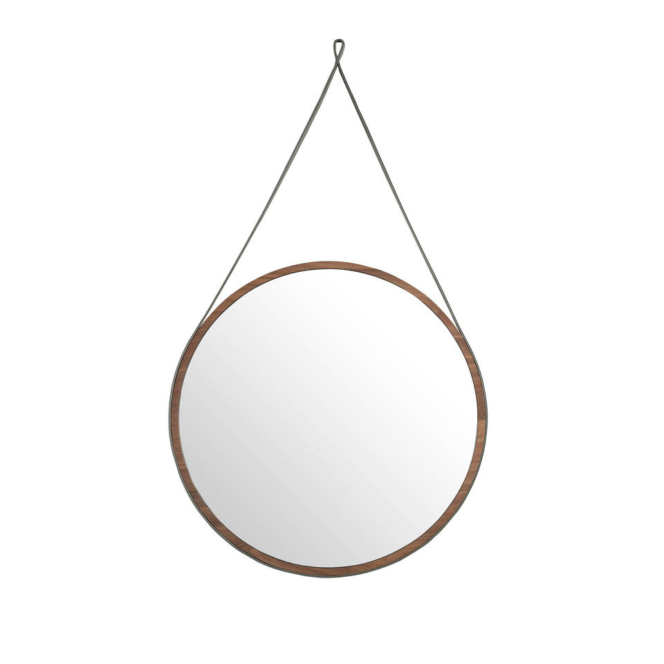 Walnut wood circular hanging mirror