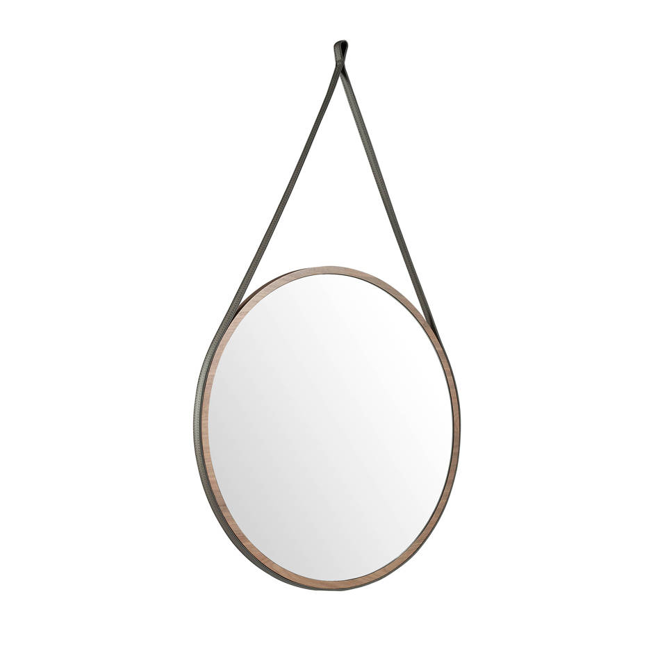 Mirror with frame manufactured in Walnut color
