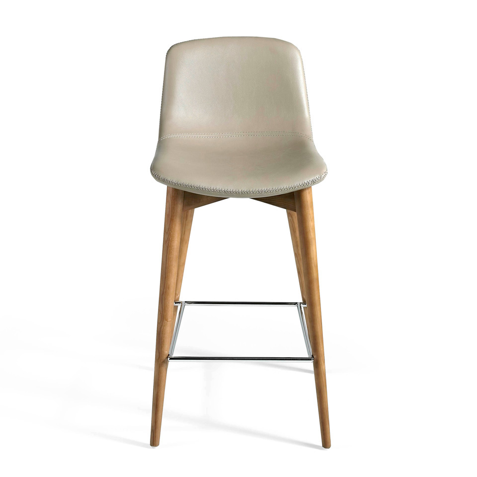 Stool with walnut veneered Wood structure