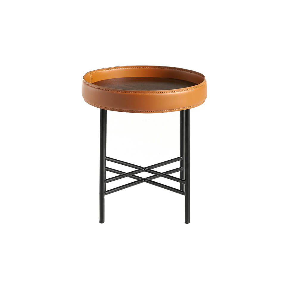 Round corner table in Walnut wood upholstered in leather and black steel