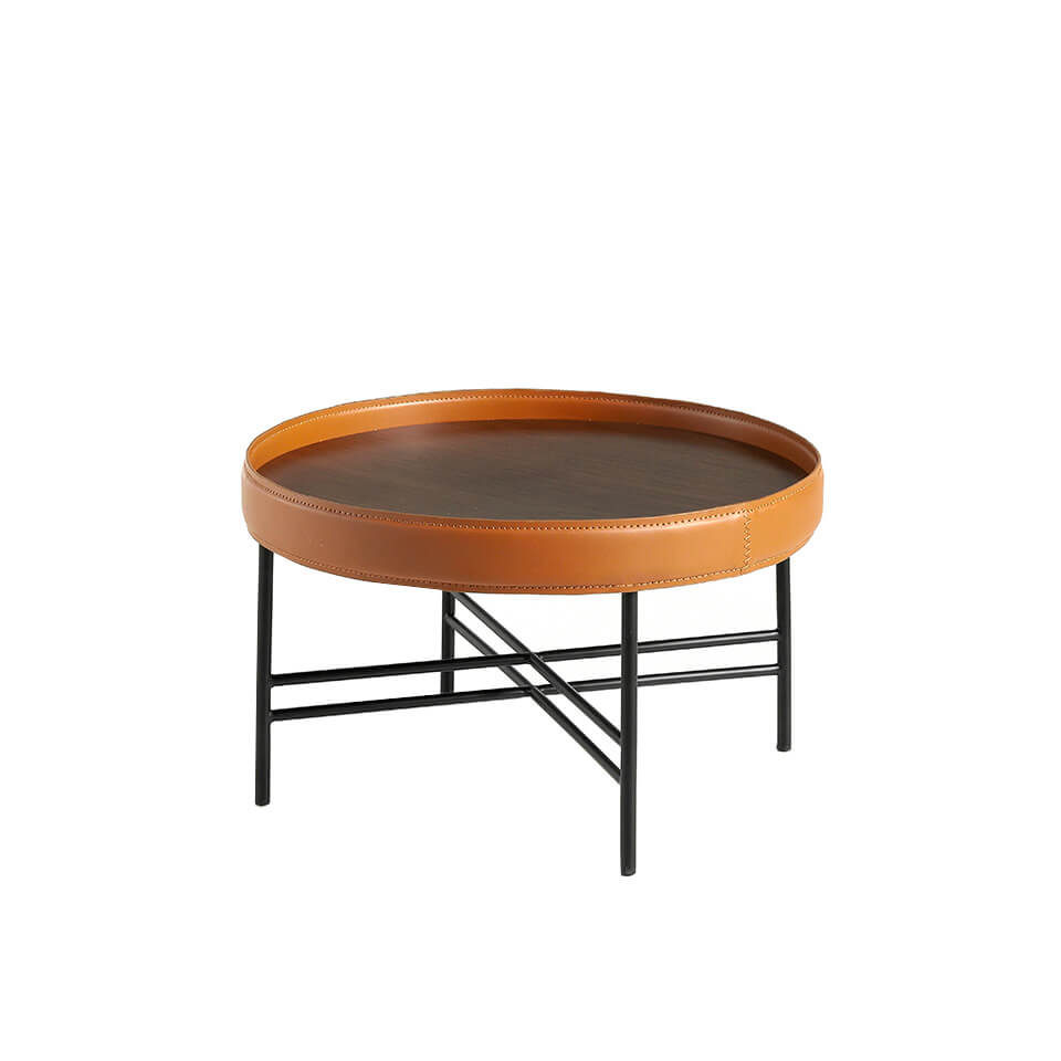 Round walnut wood coffee table upholstered in leather and black steel