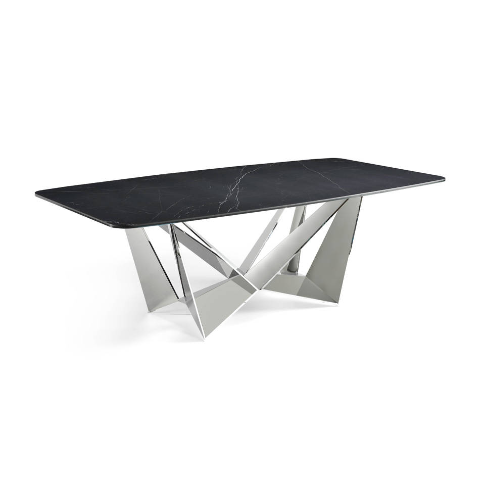 Rectangular dining table with steel structure and black porcelain marble top