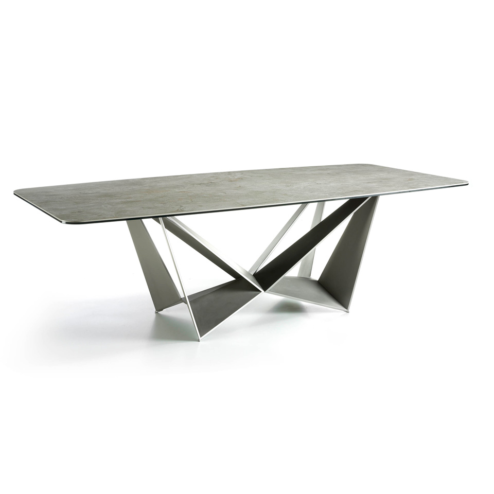Gray porcelain dining table and metal mink steel