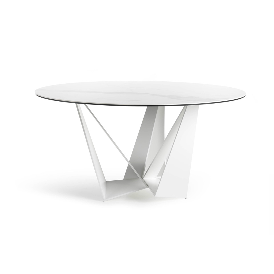 Stainless steel dining table with white ceramic marble top