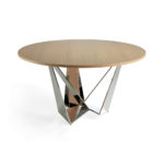 Dining room table with stainless steel chromed legs