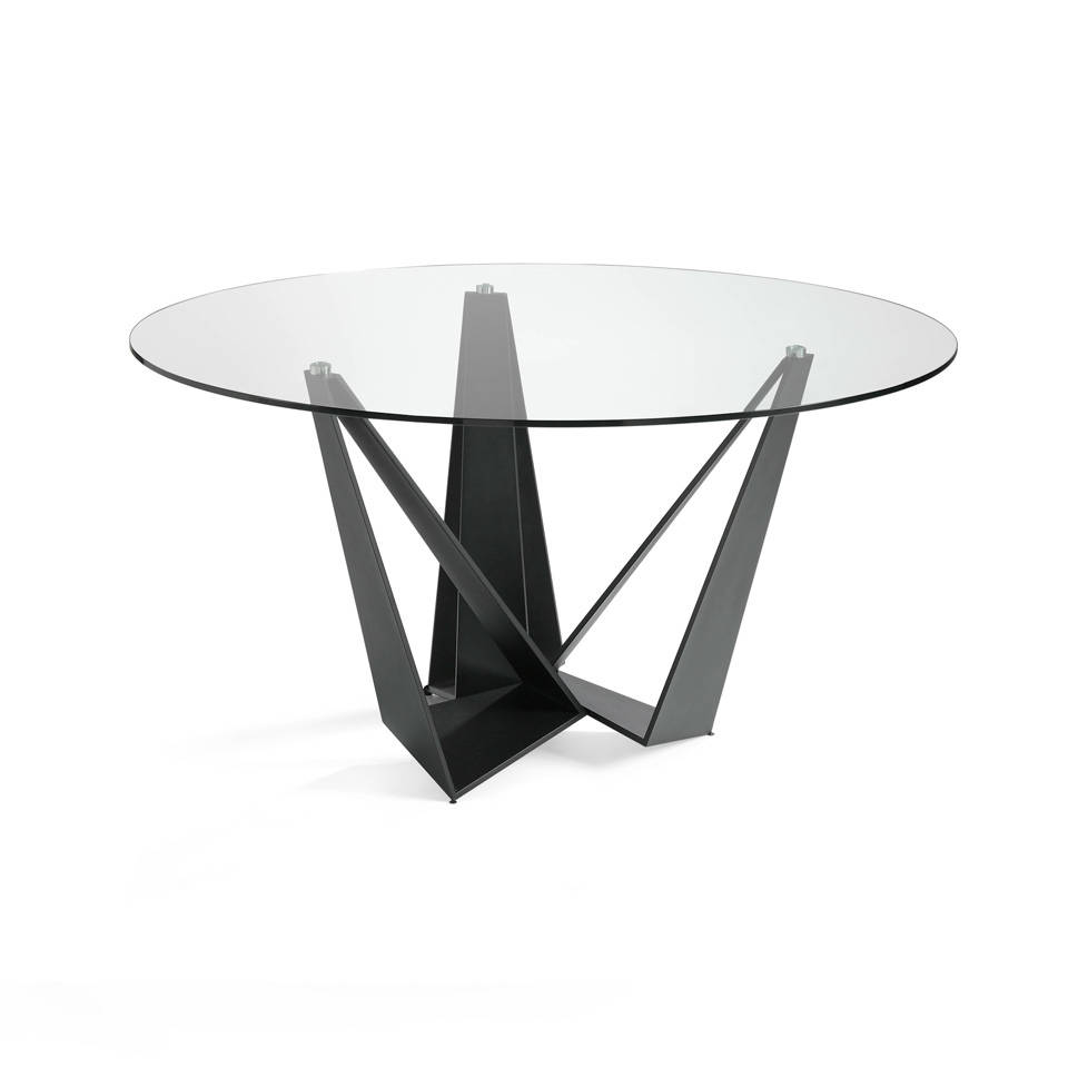 Black steel dining table with tempered glass top